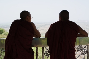 Monks enjoying the view from the top of Mandalay Hill.