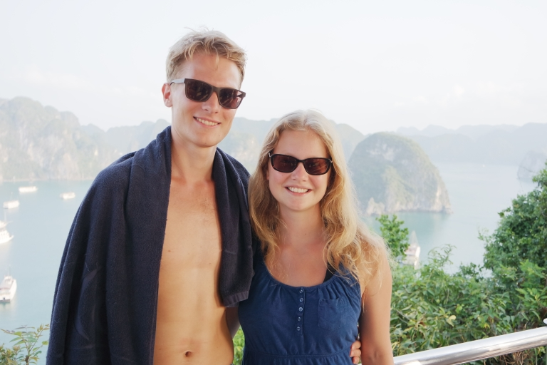 On top of a tall rock in Halong Bay