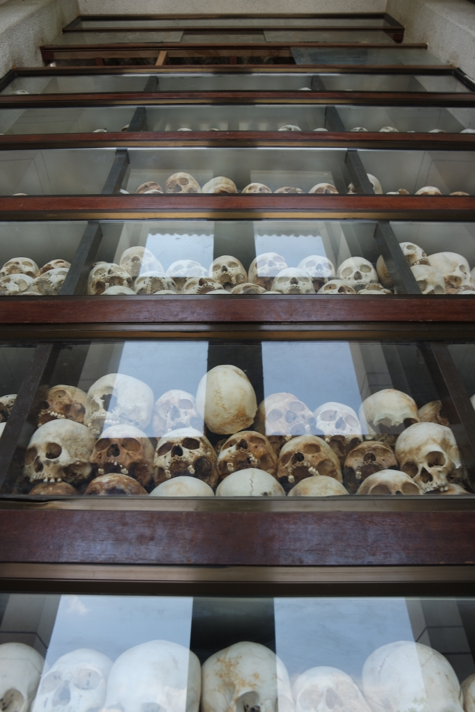 The memorial monument for the dead at the Killing Fields consists of over 10,000 bones